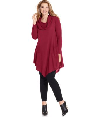 NY Collection Plus Size Long-Sleeve Cowl-Neck Tunic Sweater ...