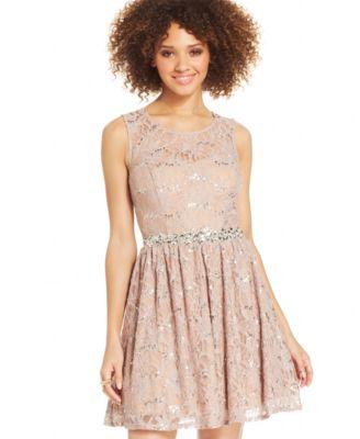 Beige Lace Dress Juniors