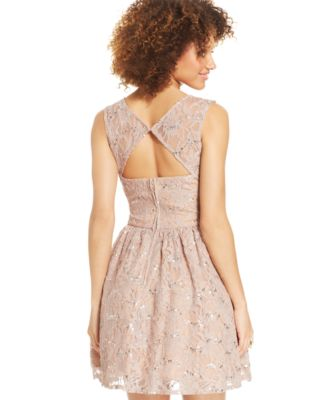 City Studios Juniors Sequin Lace Dress Dresses