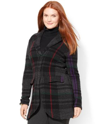 Lauren Ralph Lauren Plus Size Plaid Sweater Coat - Sweaters - Plus