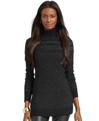 Lauren Ralph Lauren Mock-Turtleneck Fair-Isle Tunic Sweater ...