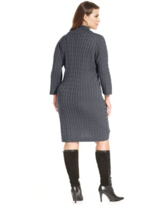 calvin klein plus size cable-knit sweater dress - dresses - plus