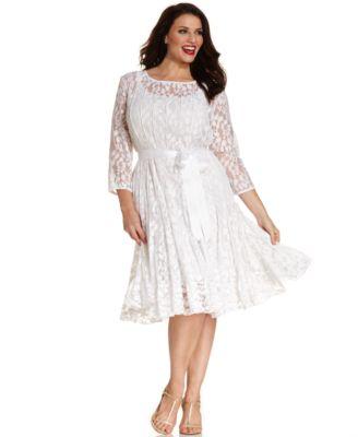 msk plus size illusion floral lace dress - dresses - women - macy's