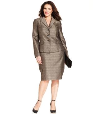 Le Suit Plus Size Metallic Skirt Suit