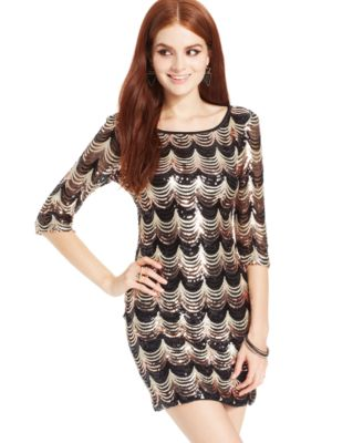 Crystal Doll Juniors&39 Three-Quarter-Sleeve Sequin Dress - Dresses ...