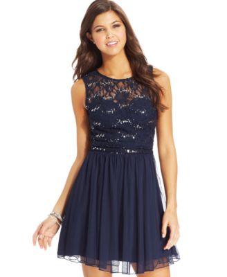 B darlin dress sleeveless sash lace
