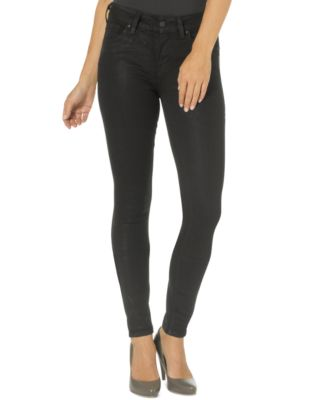Silver Jeans Aiko Coated Black-Wash Skinny Jeans - Jeans - Juniors ...