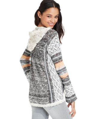 American Rag Juniors' Lace Hood Pullover Sweater - Sweaters ...