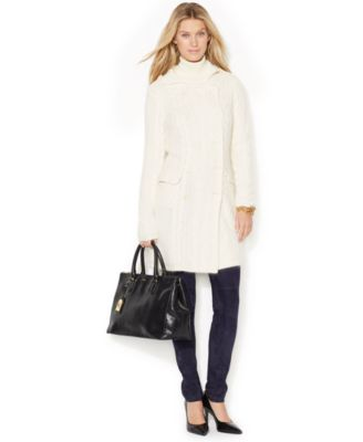 Lauren Ralph Lauren Double-Breasted Cable-Knit Sweater Coat ...