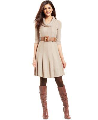 Robbie Bee Belted Cowl-Neck Sweater Dress - Dresses - Women - Macy's
