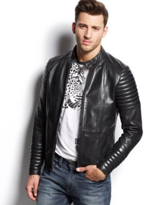 Versace Jeans Leather Moto Jacket - Coats & Jackets - Men - Macy's