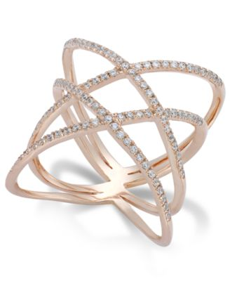 Diamond Double X Ring in 14k Rose Gold 1 2 ct t w Rings