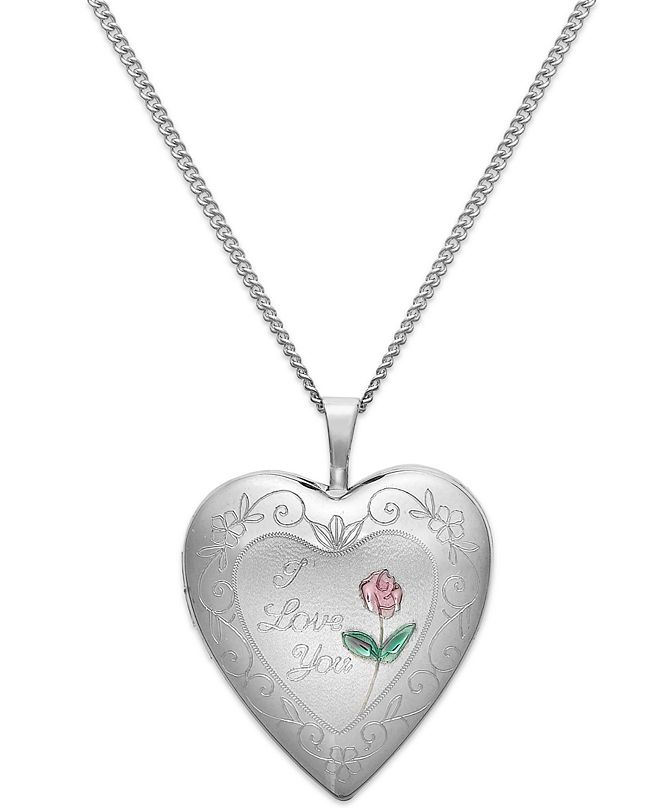 Macy's I Love You Heart Locket Necklace in Sterling Silver