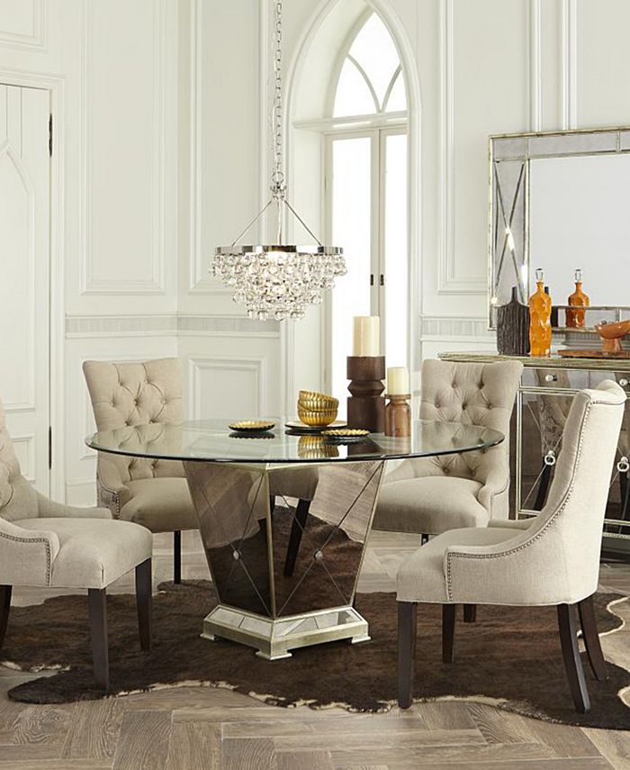 Furniture Marais Dining Room Furniture 5 Piece Set 54 Mirrored Dining Table And 4 Side Chairs Reviews Furniture Macy S