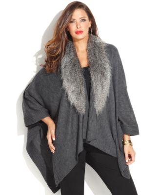 inc international concepts plus size faux-fur-collar poncho