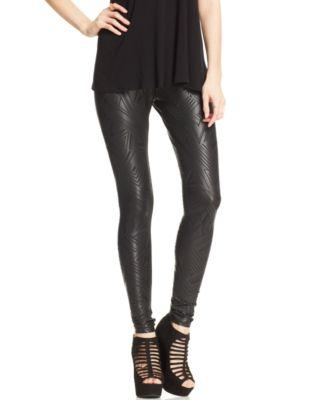 Material Girl Juniors Pants, Faux-Leather Leggings - Leggings ...