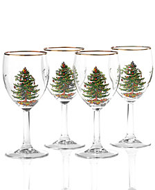 Spode Christmas Tree Glassware Wine Glass, Set of 4