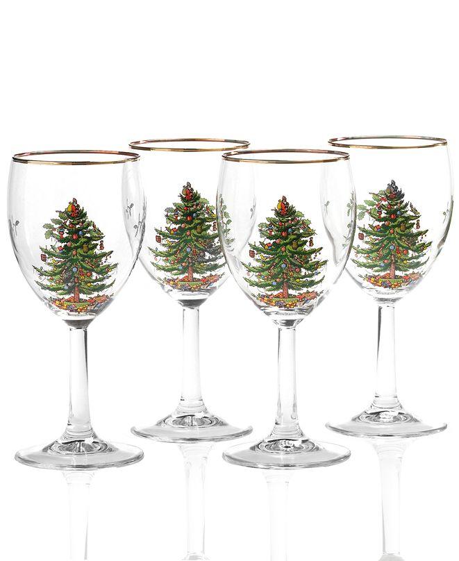 Spode Christmas Tree Glassware Wine Glass, Set of 4