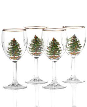 Spode Glassware, Set of 4 Christmas Tree Wine Glasses