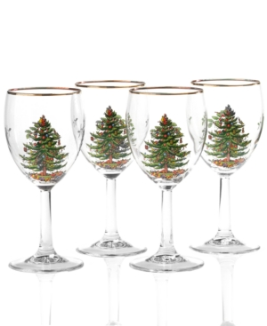 Spode Glassware, Set of 4 Christmas Tree Wine Glasses