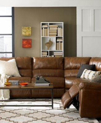 Brandie Leather 5Piece Sectional Sofa with 3 Power Recliners
