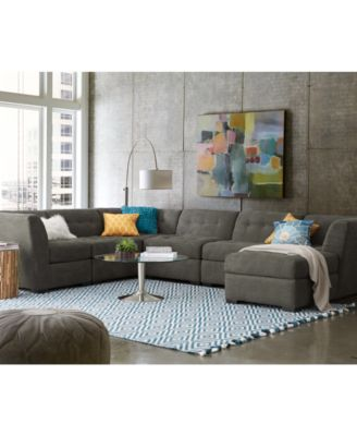 roxanne fabric 6piece modular sectional sofa corner unit chaise 3 armless chairs u0026 ottoman