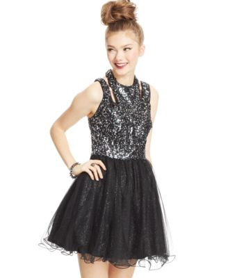 Hailey Logan by Adrianna Papell Juniors\' Sequin Tulle Dress ...
