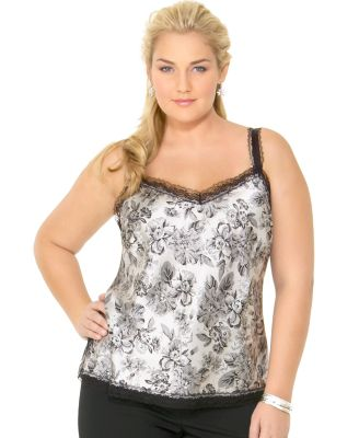 Macy*s - Women's - Nine West Woman Floral-Print Cami :  cami macys lace plus size