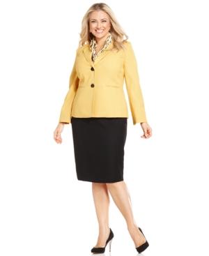 Le Suit Plus Size Contrast-Blazer Skirt Suit with Scarf