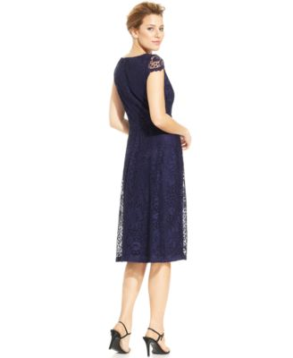 Navy Lace Dress with Sleeves