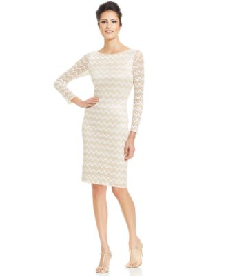 Jessica Howard Petite Metallic Knit Chevron Sheath - Dresses ...