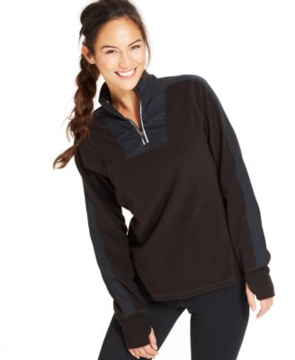 Ideology Half-Zip Fleece Pullover - Sweaters - Women - Macy's