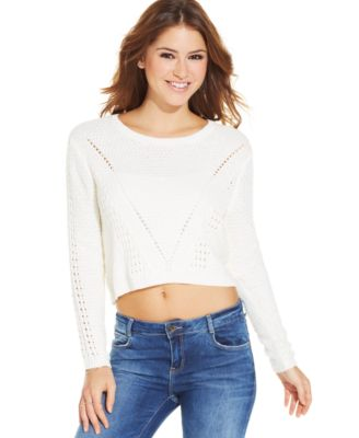 GUESS Long-Sleeve Cable-Knit Cropped Sweater - Sweaters - Women ...