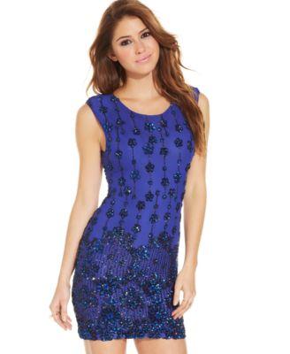 As U Wish Juniors&-39- Chevron Sequin Dress - Dresses - Juniors - Macy&-39-s