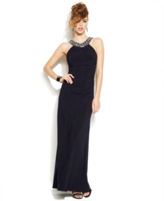 Xscape Illusion Panel Pleated Halter Gown - Dresses - Women - Macy\'s
