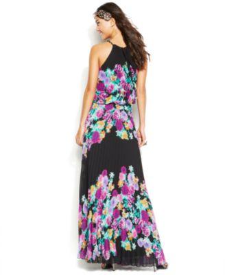 Xscape Halter Chain Floral Pleated Blouson Gown - Dresses - Women ...