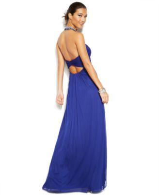 Xscape Embellished Flyaway Halter Gown - Dresses - Women - Macy\'s