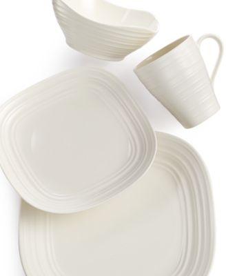 Mikasa Dinnerware, Swirl White Square 4 Piece Place Setting