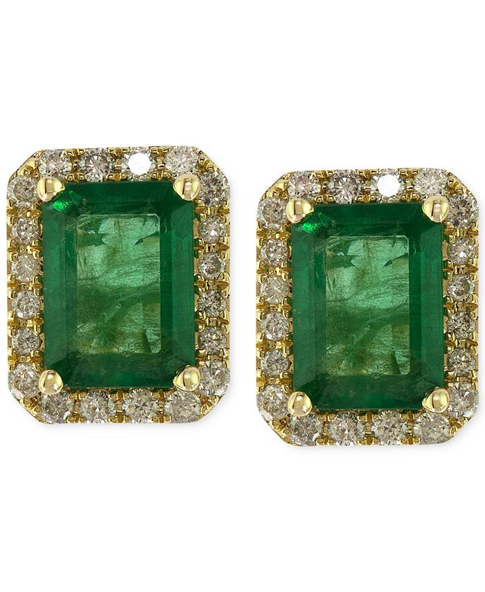 EFFY Collection - Emerald (1-9/10 ct. t.w.) and Diamond (1/4 ct. t.w.) Stud Earrings in 14k Gold