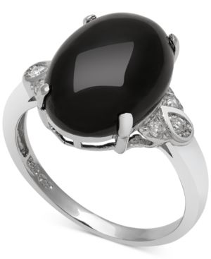 Onyx (10mm) and Diamond (1/10 ct. t.w.) Ring in Sterling Silver thumbnail