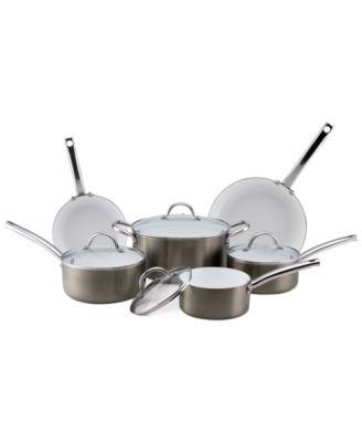 CLOSEOUT! CeraStone Metallic Nonstick 10 Piece Cookware Set