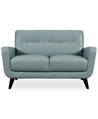 Chiara Top Grain Leather Loveseat Furniture Macy S