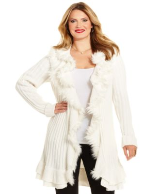 Alfani Plus Size Long-Sleeve Faux-Fur Ruffle Cardigan - Sweaters ...