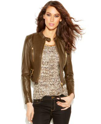 MICHAEL Michael Kors Petite Cropped Leather Moto Jacket - Jackets ...