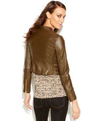 MICHAEL Michael Kors Petite Cropped Leather Moto Jacket - Jackets ...
