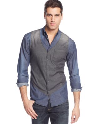 Armani Jeans Vintage Effect Vest Shirt - Casual Button-Down Shirts ...