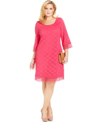 Alfani lace sleeve beaded shift dress