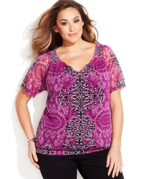INC International Concepts Plus Size Scroll-Print Peasant Top
