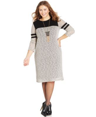ING Plus Size Short-Sleeve Printed Sweater Dress - Dresses - Plus ...
