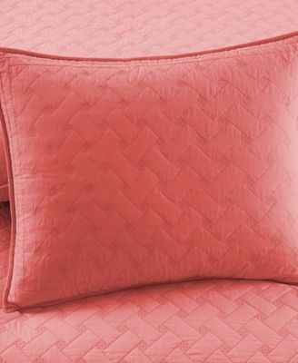 Martha Stewart Collection Coral Basket Stitch Full/Queen Quilt ... : coral quilt queen - Adamdwight.com